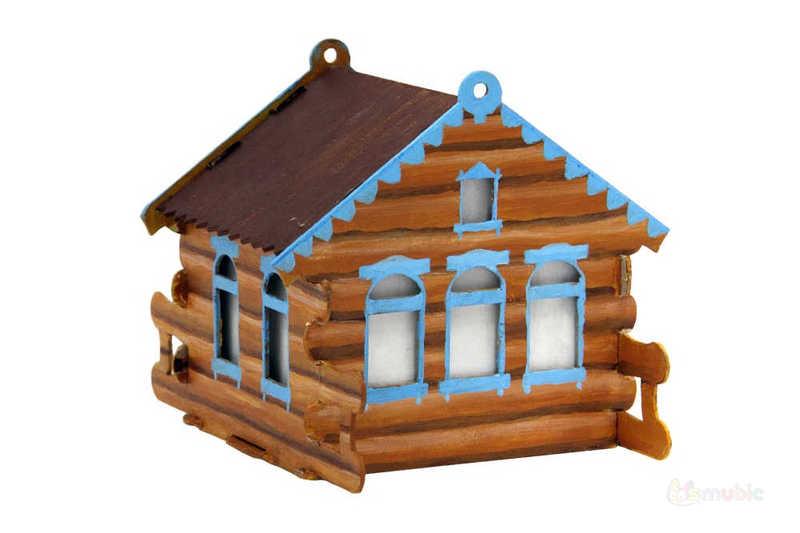 """Раскраска домика-коробочки """"Избушка"""" (2)"""