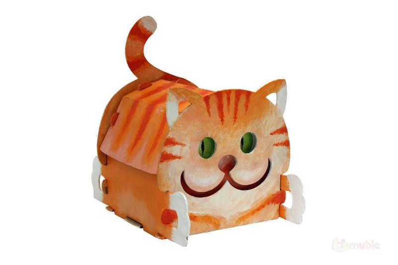 "Вариант раскраски домика-коробочки ""Котик"" (1)"