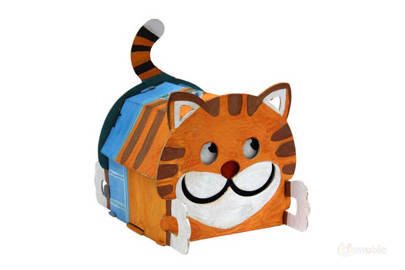 "Вариант раскраски домика-коробочки ""Котик"" (2)"