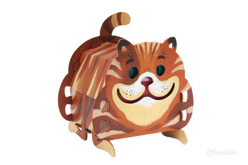 "Вариант раскраски домика-коробочки ""Котик"" (3)"