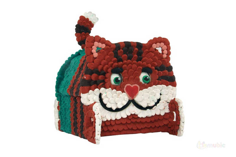 "Вариант раскраски домика-коробочки ""Котик"" (4)"