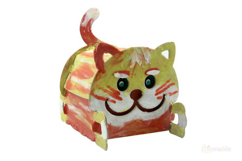 "Вариант раскраски домика-коробочки ""Котик"" (5)"